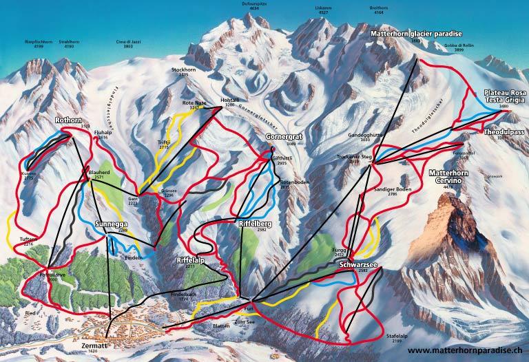 Zermatt - carte des pistes de ski