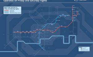 Plan de métro Londres de nuit