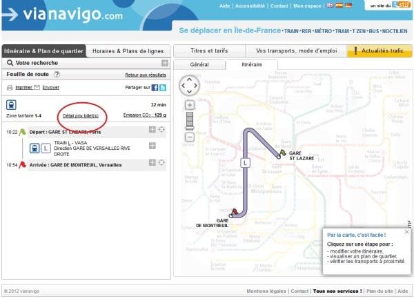 Vianavigo - détail prix